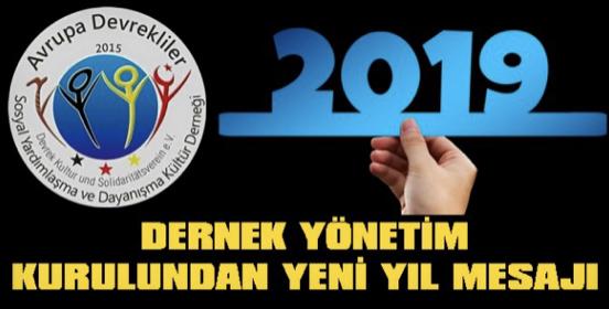 Dernek yönetim kurulundan yeni yıl mesajı