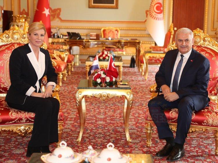 TBMM Başkanı Yıldırım-Hırvatistan Cumhurbaşkanı Kitaroviç kabulü