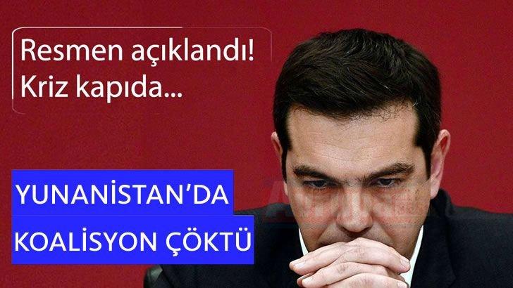 Yunanistan'da koalisyon çöktü