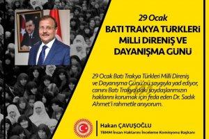 29 Ocak Batı Trakya Türkleri'nin Milli Direniş ve Dayanışma Günü Kutlu Olsun