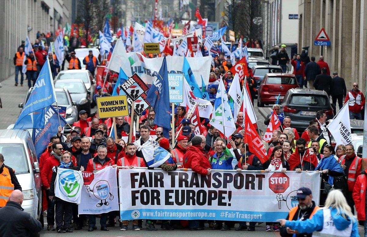 Brüksel'de taşımacılardan protesto