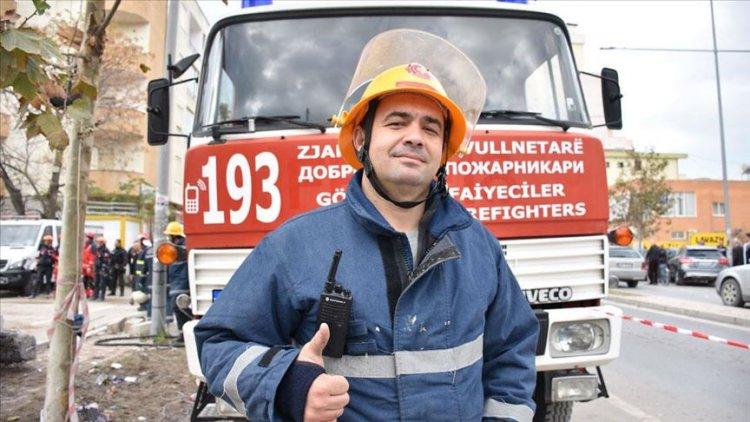 Türk asıllı gönüllü itfaiyeci Makedonya'dan Arnavutluk'un yardımına koştu