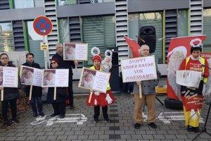 Türk ailenin 4 günlük bebeğini alan Gençlik Dairesi'ne protesto