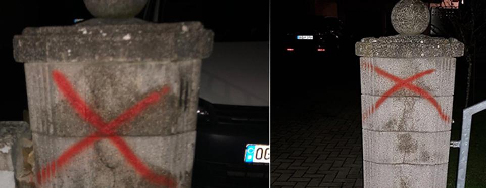 Türklerin oturduğu evin duvarına çarpı işareti çizildiği ortaya çıktı