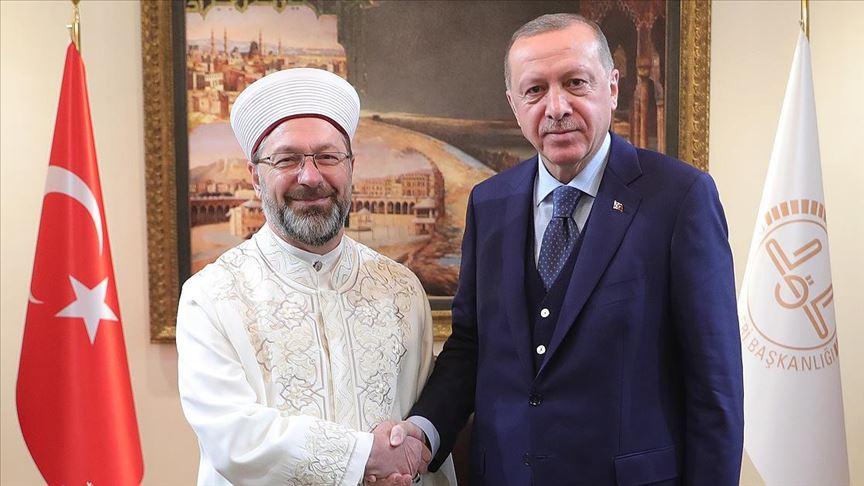 Cumhurbaşkanı Erdoğan'dan Diyanet İşleri Başkanı Erbaş'a ziyaret