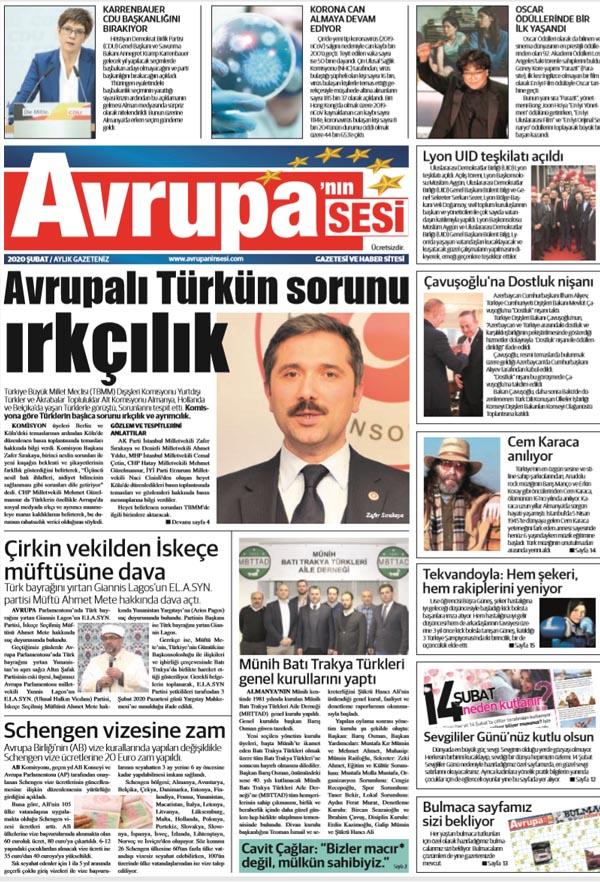 Avrupanın Sesi 13 Şubat 2020 Tarihli Gazetemiz