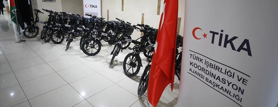TİKA Filistin Postane Müdürlüğüne elektrikli bisiklet desteğinde bulundu