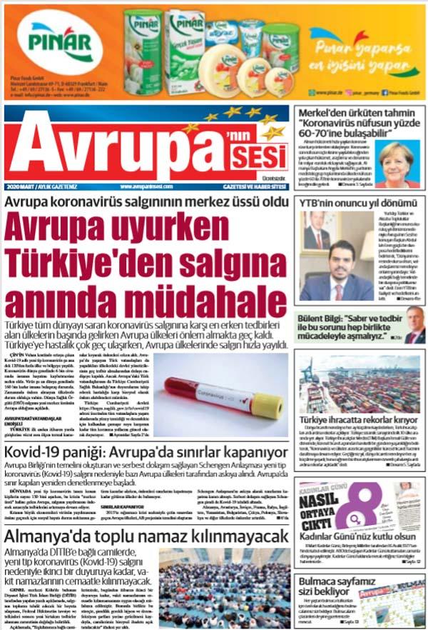 Avrupanın Sesi 18 Mart 2020 Tarihli Gazetemiz