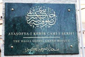 Ayasofya-i Kebir Camii'nin tabelasındaki hüsn-i hat istifinin tapudaki şekliyle yazıldı