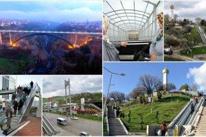 Köprüleri ve yürüyen merdivenleri ile modern şehir Karabük