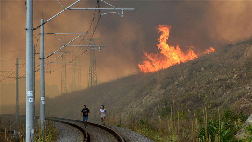 Bulgaristan-Türkiye sınırındaki yangın büyük alana yayılıyor