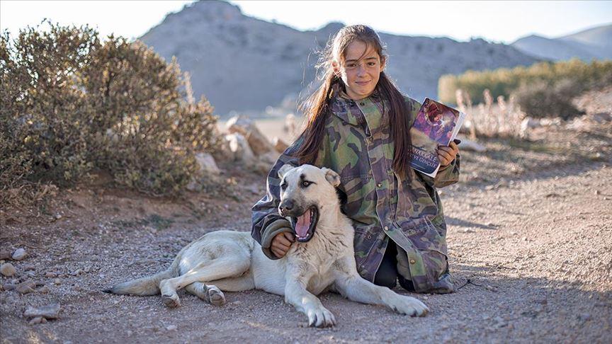 Yörük kızı Emine koyun ve keçilerini güderken ders çalışıyor