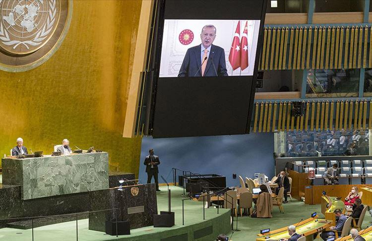 Cumhurbaşkanı Erdoğan'ın konuşması BM'de İsrail Büyükelçisi'ne salonu terk ettirdi