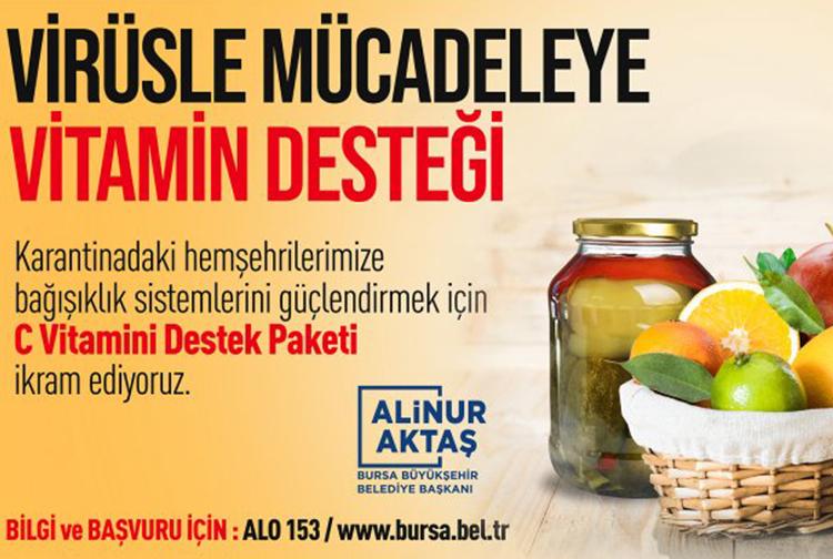 Bursa Belediyesi karantinada bulunan vatandaşların bağışıklık sistemini güçlendiriyor
