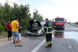 Almanya'dan memleketine giden gurbetçinin otomobili yandı